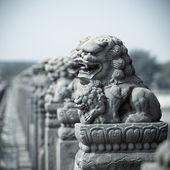 鮮やかな石造りのライオン — ストック写真