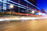 Rush hour traffic in beijing at night — Stock Photo
