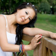Beautiful pregnant girl walking in park — ストック写真 #6840758