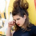 Punk girl walking outdoor — Stock Photo #6841045