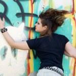 Punk girl walking outdoor — Stock Photo #6841126