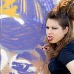 Punk girl walking outdoor — Stock Photo #6841199