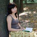 Girl reading book in park — Stock Photo #6902212