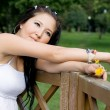 Beautiful pregnant girl walking in park — Stock Photo #6903096