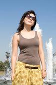 Girl walking outdoor in summer — Stock Photo