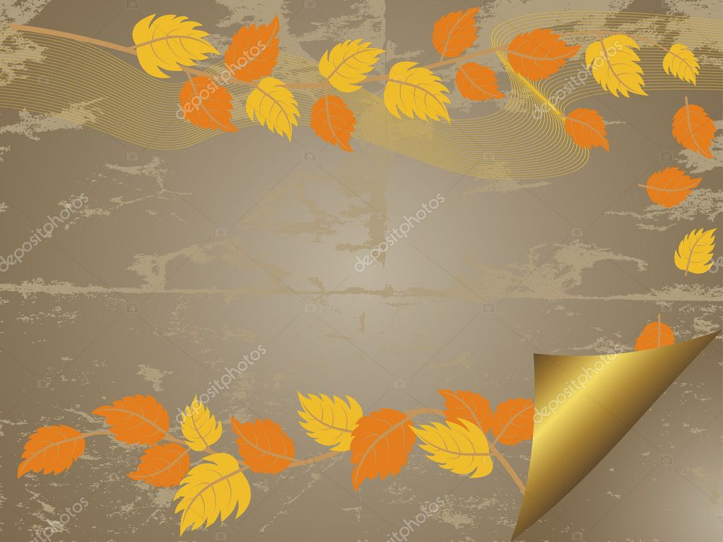 Art grunge background with autumn leaves. Vector.  Stock Vector #6911114