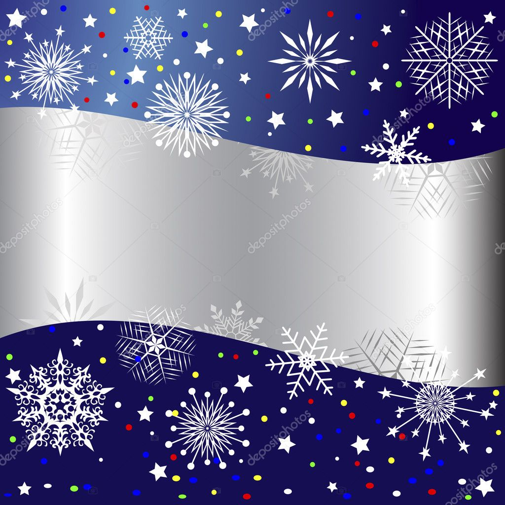 Christmas background with banner, snowflakes, stars and confetti. Vector illustration. — Stock Vector #6946638