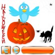 Twitter bird with halloween elements. — Stock vektor