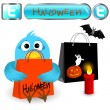 Twitter bird with halloween elements. — Vector de stock #7297948