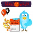 Stock Vector: Twitter bird with halloween elements.