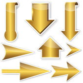 Zlatá nálepky od šipky. — Stock vektor