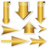 Złoty naklejki z strzałki. — Wektor stockowy