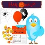 Blue bird with halloween elements. — Stock Vector