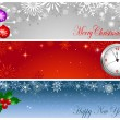 Christmas and new year banners. — Stockvectorbeeld