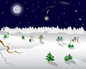 Christmas star on a night sky. — Stockvector