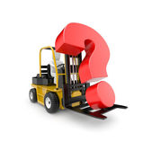 Forklift with question — Stock fotografie