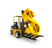 Forklift with dollar — Stock Photo