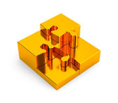 Gold puzzles. Image contain clipping path — Stock Photo