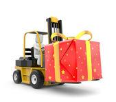 Carrello elevatore con scatola regalo — Foto Stock