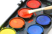 Used water color paint box with a brush close up — Stock Photo