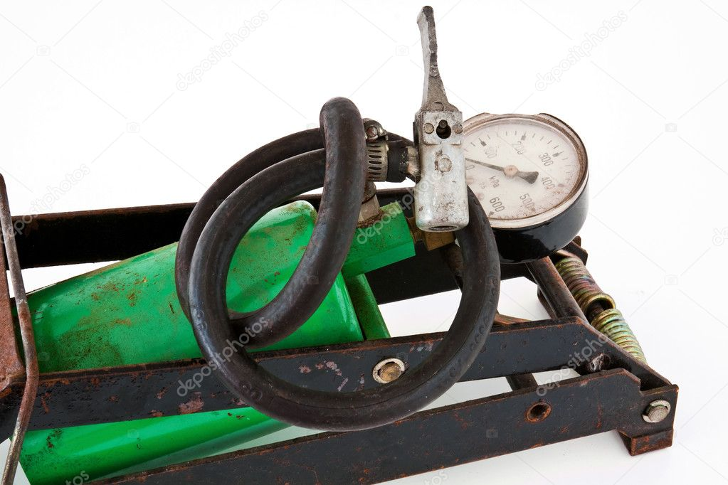 Old foot pump motor on a white background  Stock Photo #6904593