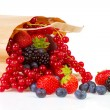 Bag with healthy fresh fruits - Foto Stock