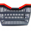 Foto Stock: Empty grey shopping basket with red handles