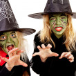 Two scary little green witches for Halloween — Stock Photo