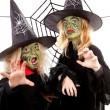 Two scary little green witches for Halloween — Stock Photo #6874057