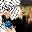 Royalty-Free Stock Photo: Portrait of green Halloween witch girl