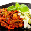Plate with delicious chilli con carne — Stock Photo