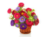 Bouquet of colorful Asters flowers in cane basket — Stock Photo