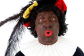 Zwarte piet ( black pete) typical Dutch character — Stock Photo