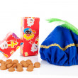 Hat of black pete, gifts and pepernoten — Stock Photo