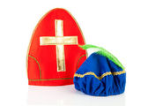 Mitre of Sinterklaas and hat of black pete — Stock Photo