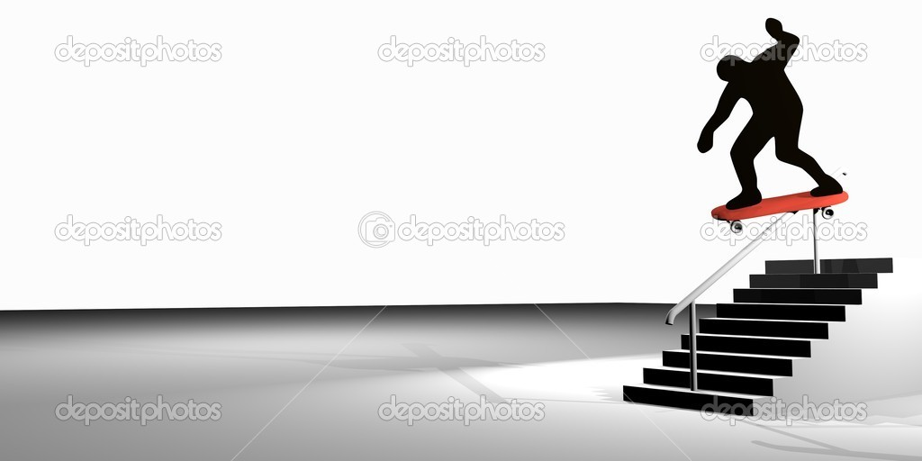 Skater and the stairs 3d  Stock Photo #7093601