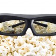 3D shutter glasses on popcorn — Foto de Stock