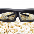 3D shutter glasses on popcorn — Stock Photo