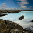 Geothermal lake in lava field — Stock Photo
