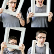Multiple photos of young man with vintage white frame — Stock Photo