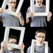 Multiple photos of young man with vintage white frame — Stock Photo #6911746