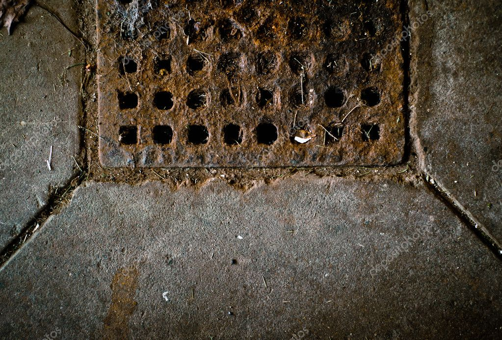 A dark, rusty, dirty, drain texture image with copy space. — Stock Photo #7295116