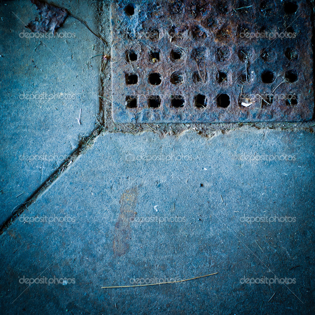 A dark, rusty, dirty, drain texture image in square format. — Stock Photo #7295124