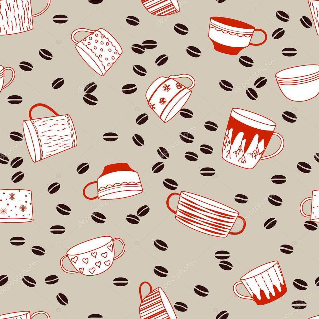 Coffee cup background. Endless pattern. Can be used for wallpaper, pattern fills, web page background, surface textures, fabric design.  — Stock Vector #6845897