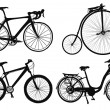 Stock Vector: Four bicycles.
