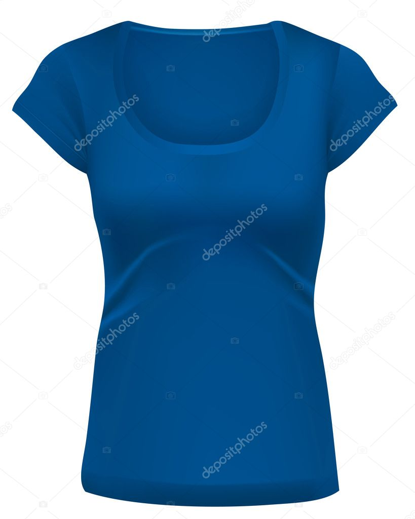 Woman blue t shirt template stock vector yaskii 6940244 for Blue t shirt template