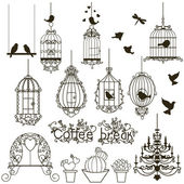 Birdcage set. — Vector de stock