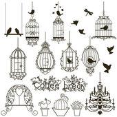 Cage à oiseaux ensemble. — Vecteur