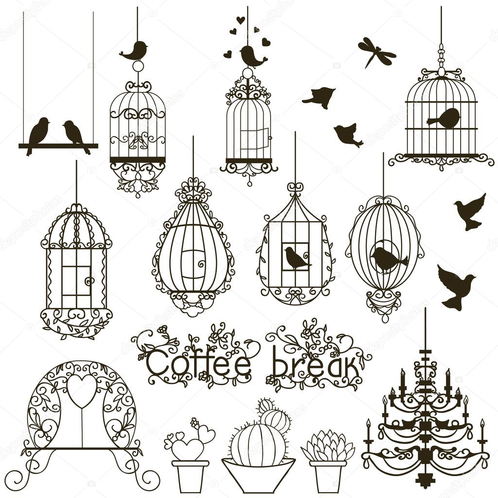 Vintage birds and birdcages collection.  Isolated on white. Clipart. Vector.  — Vettoriali Stock  #6987372