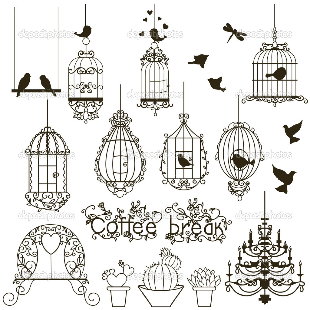 Vintage birds and birdcages collection.  Isolated on white. Clipart. Vector.  — 图库矢量图片 #6987372